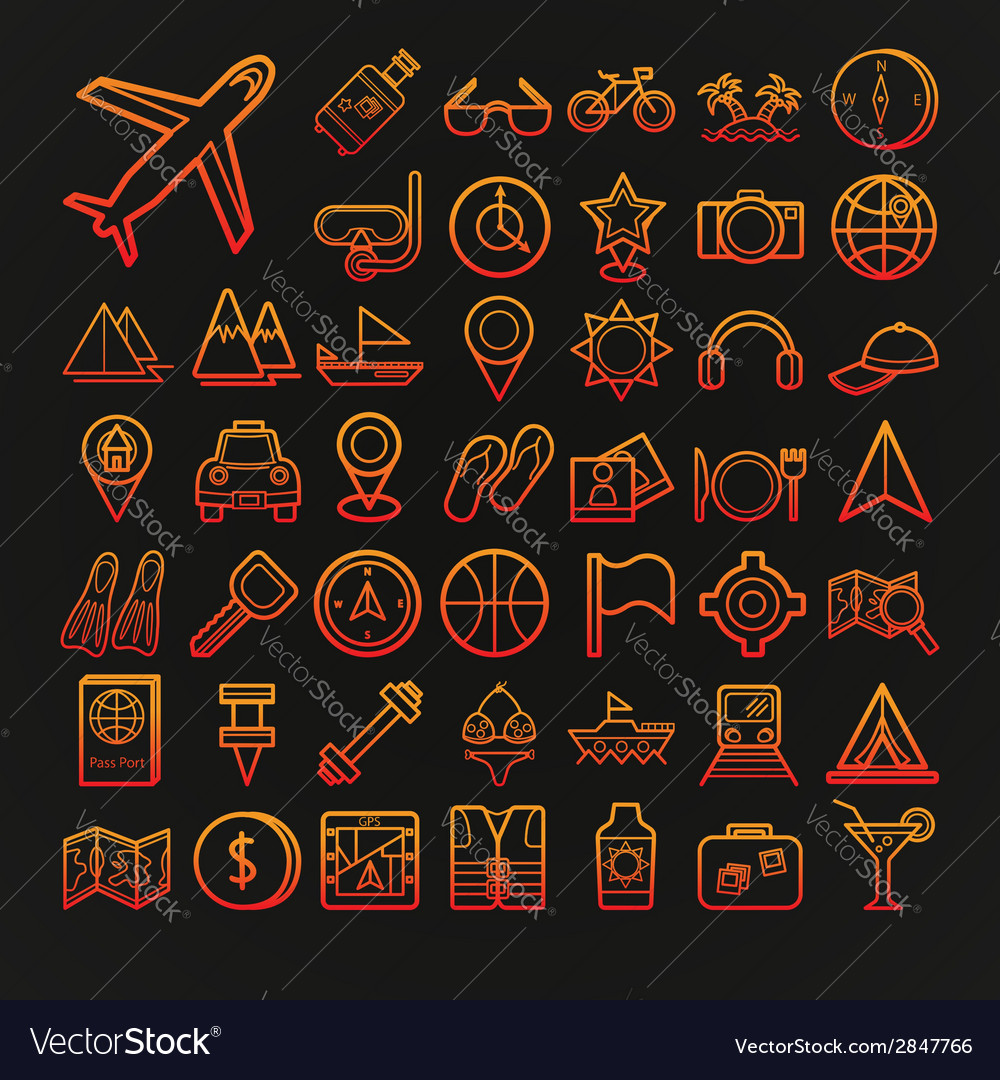 Set of 46 travel icons vector | Price: 1 Credit (USD $1)