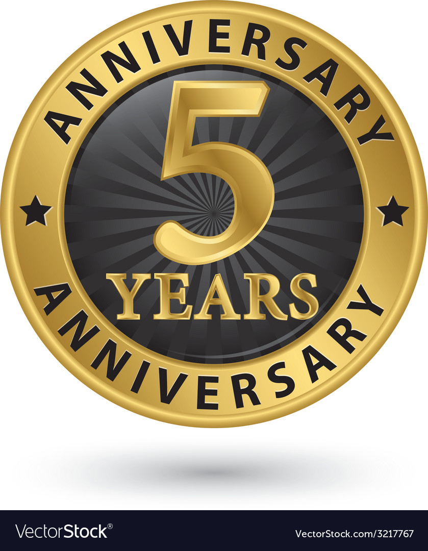 5 years anniversary gold label vector | Price: 1 Credit (USD $1)