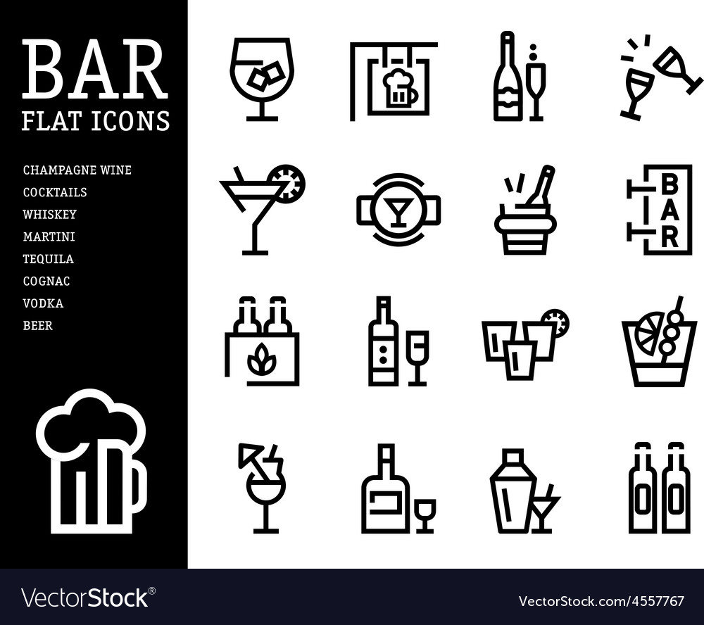 Bar alcohol icons drink beverage set vector | Price: 1 Credit (USD $1)