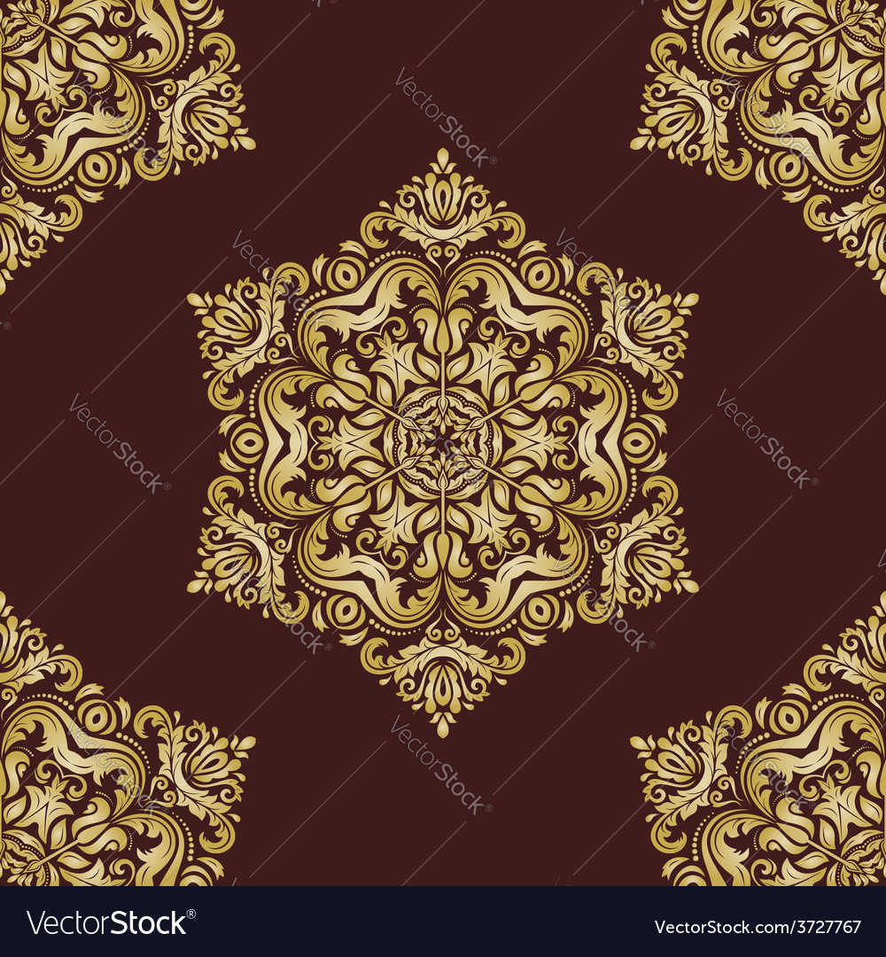 Damask seamless pattern orient golden vector | Price: 1 Credit (USD $1)