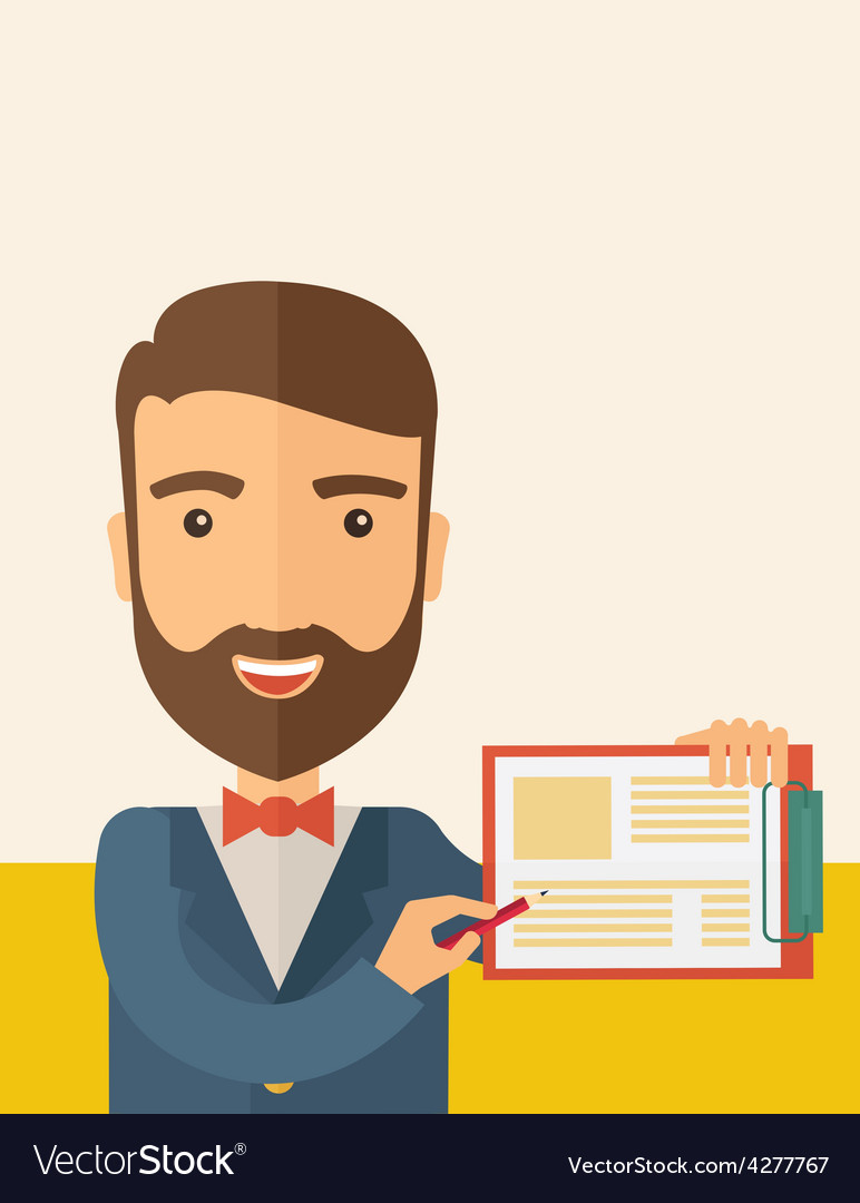 Handsome man with clipboard vector | Price: 1 Credit (USD $1)