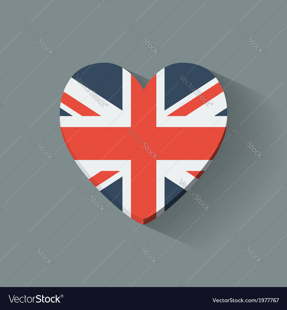 Heart-shaped icon with flag of the uk vector | Price: 1 Credit (USD $1)