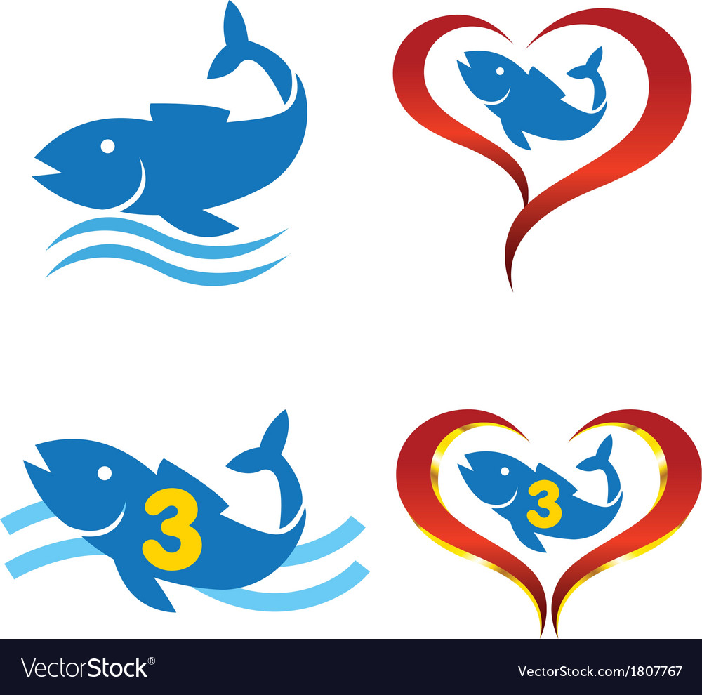 Logo omega fish on heart vector | Price: 1 Credit (USD $1)