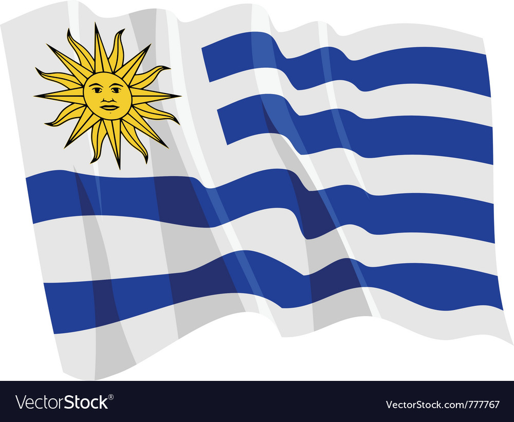 Political waving flag of uruguay vector | Price: 1 Credit (USD $1)
