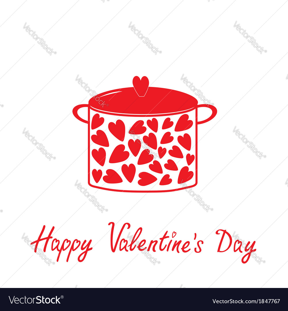 Pot with hearts happy valentines day vector | Price: 1 Credit (USD $1)