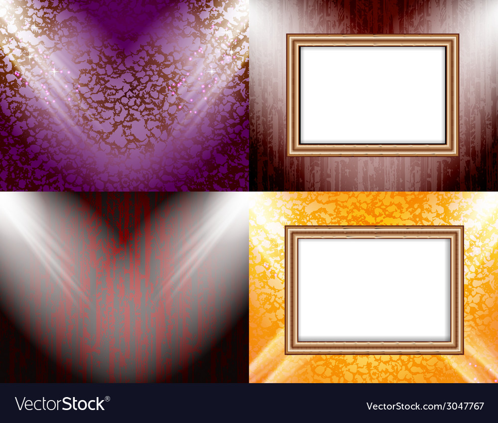 Set of background with frames and spotlights vector | Price: 1 Credit (USD $1)