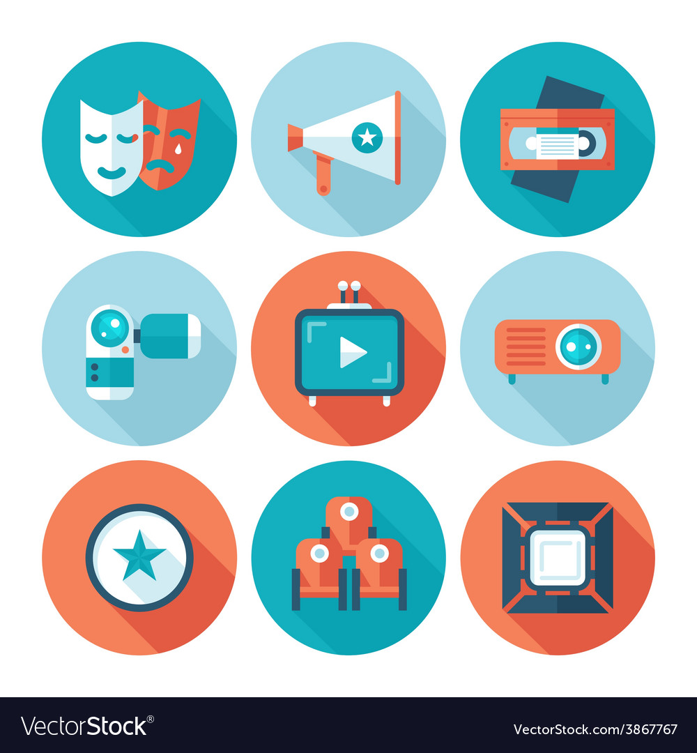 Set of flat cinema and movie icons vector | Price: 1 Credit (USD $1)