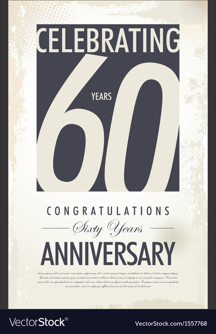 60 years anniversary retro background vector | Price: 1 Credit (USD $1)