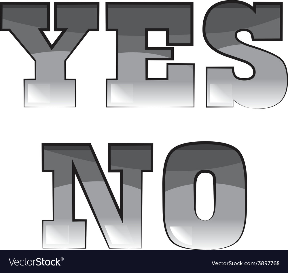 Black and white words yes and no vector