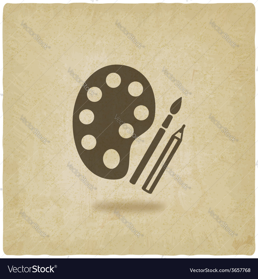 Brush palette pencil art symbol old background vector | Price: 1 Credit (USD $1)