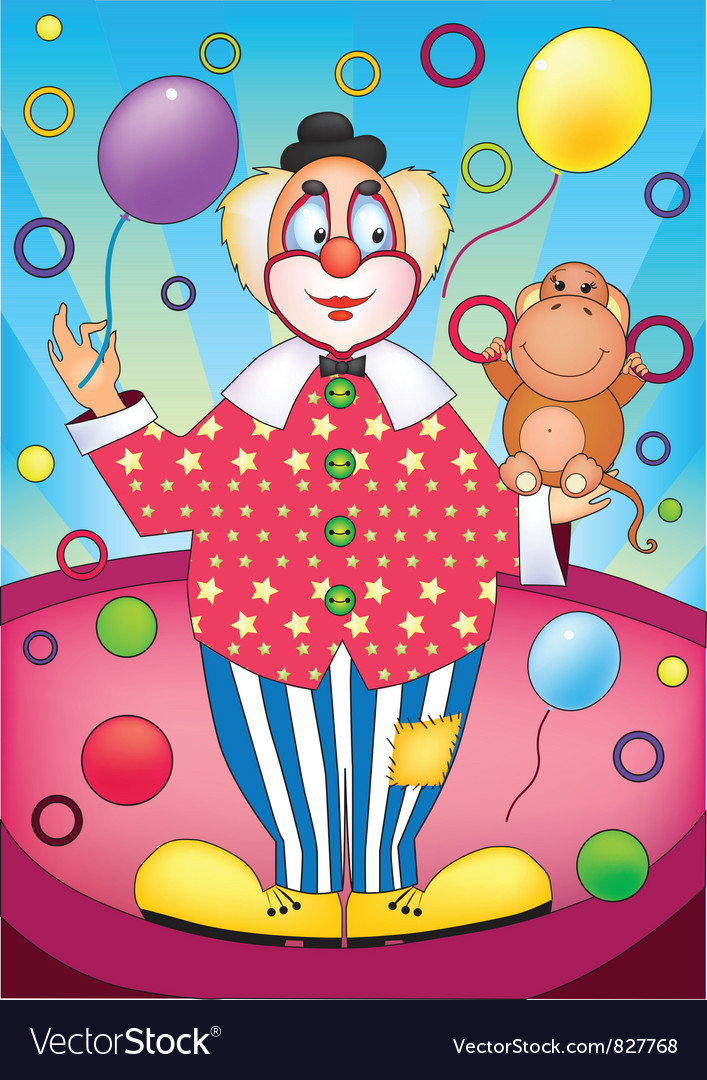 Clown with a monkey vector | Price: 1 Credit (USD $1)
