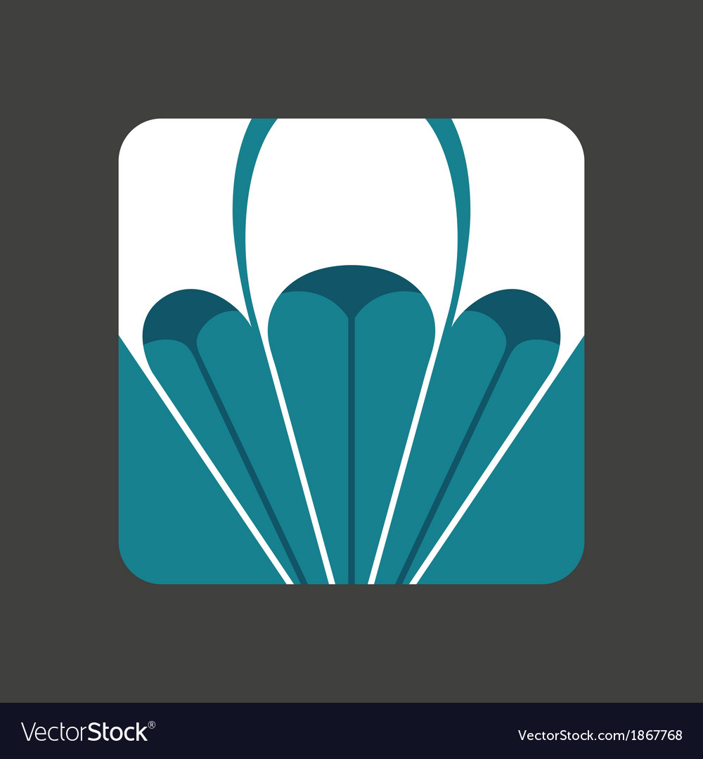 Flat icon with a open parachute vector | Price: 1 Credit (USD $1)