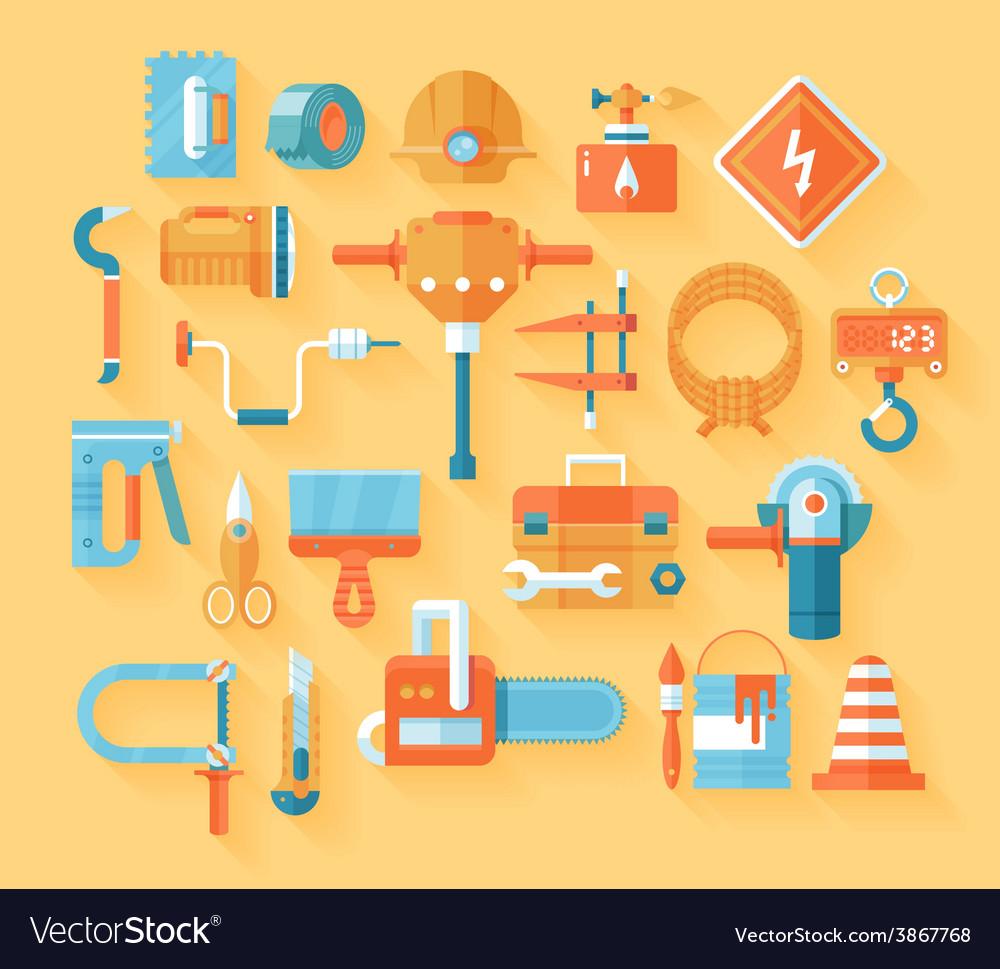 Flat working tools icon set vector | Price: 1 Credit (USD $1)