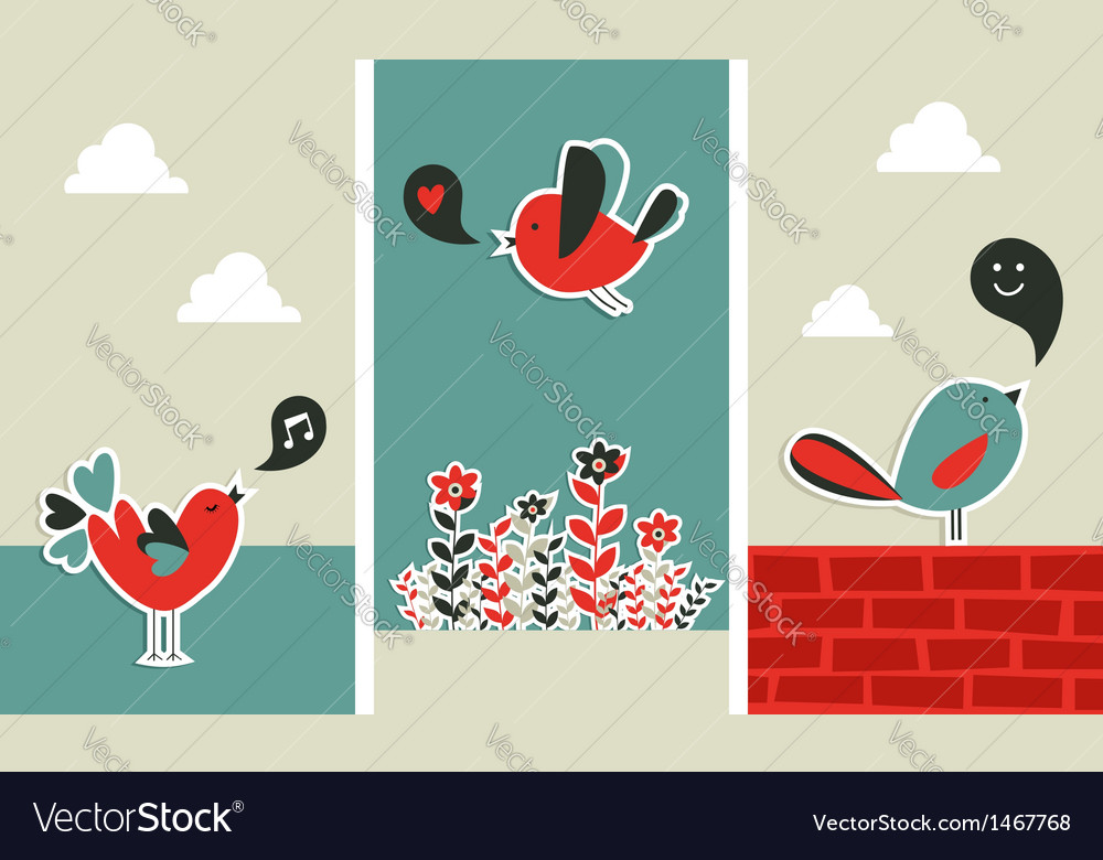 Fresh social media birds communication vector | Price: 1 Credit (USD $1)