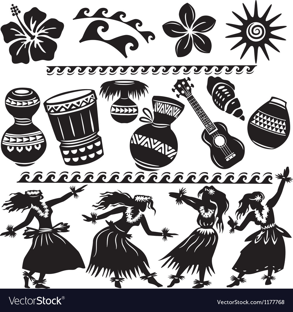 Hawaiian set with dancers and musical instruments vector | Price: 1 Credit (USD $1)