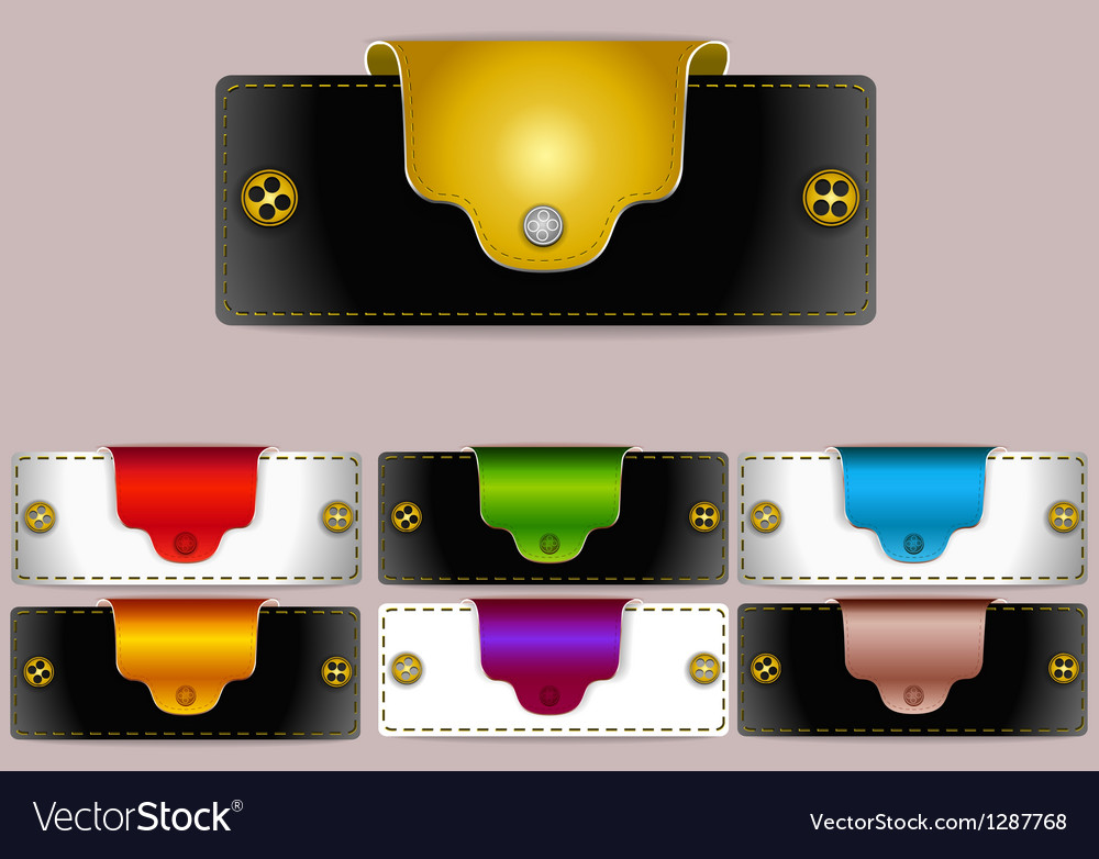 Leather banner labels with buttons vector | Price: 1 Credit (USD $1)
