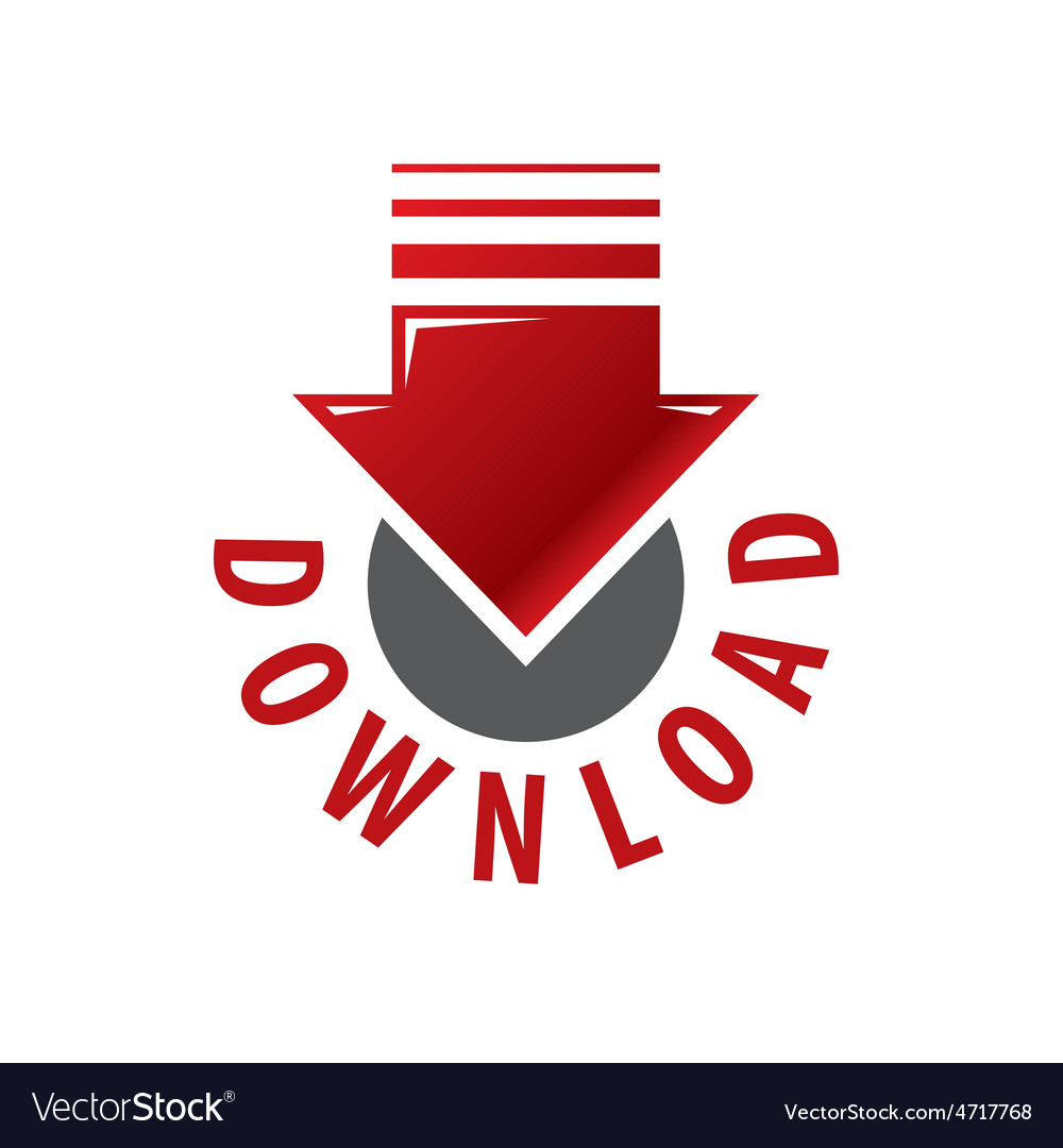Logo red arrow download vector