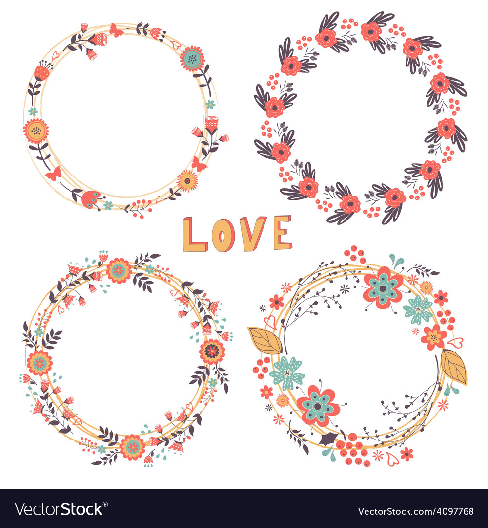 Romantic floral wreaths vector | Price: 1 Credit (USD $1)