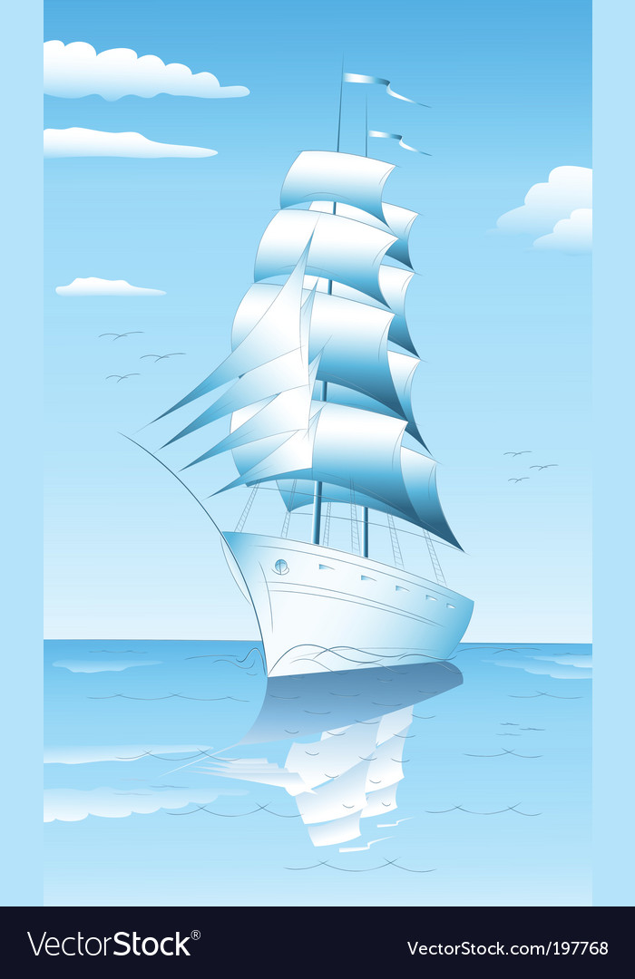 Sailing ship in sea vector | Price: 1 Credit (USD $1)