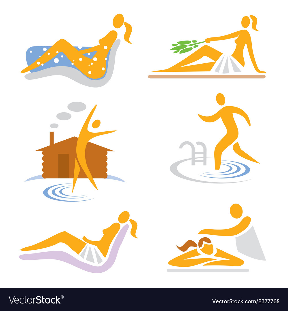 Spa wellness sauna icons vector | Price: 1 Credit (USD $1)