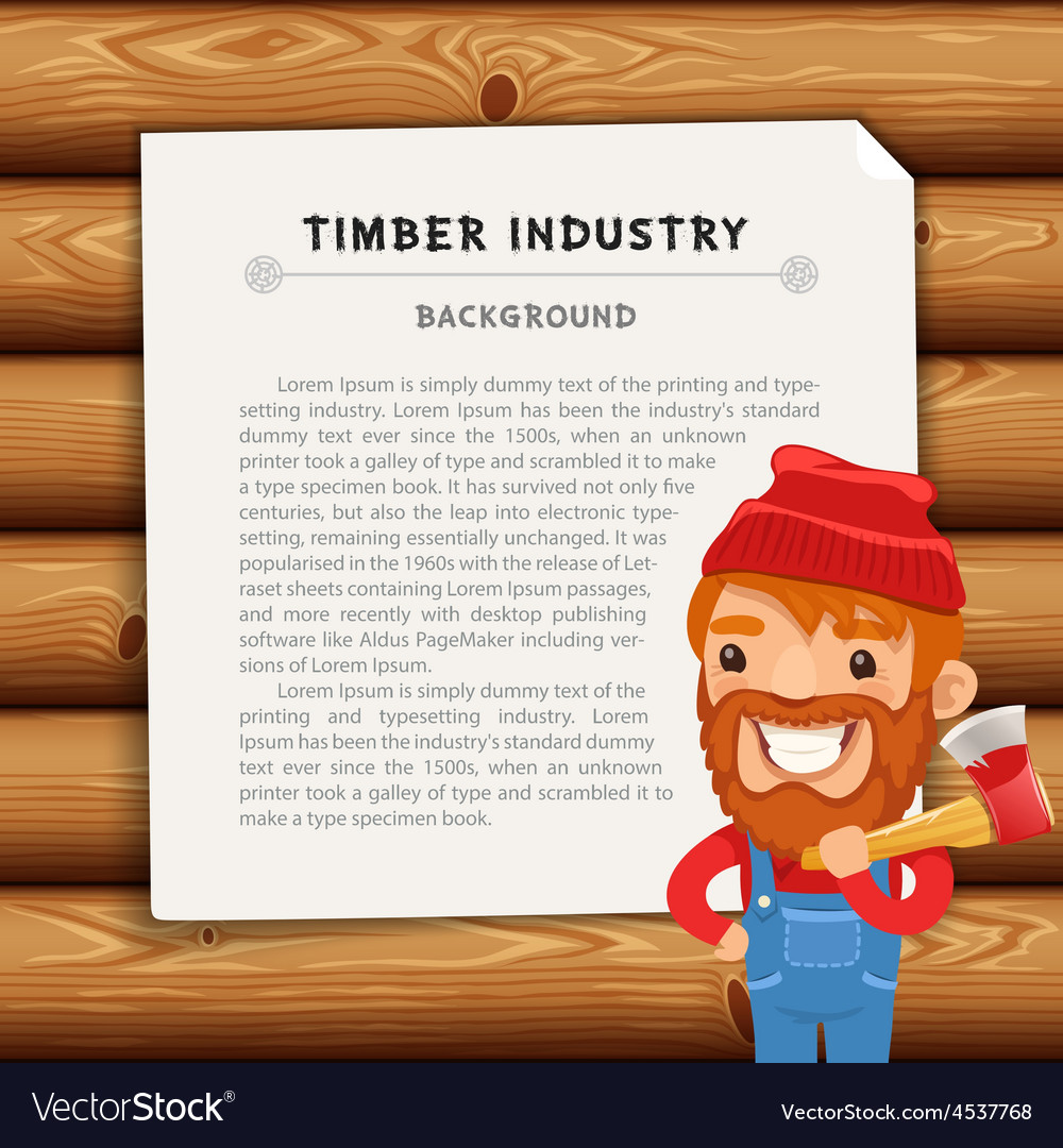 Timber industry background with lumberjack vector | Price: 3 Credit (USD $3)