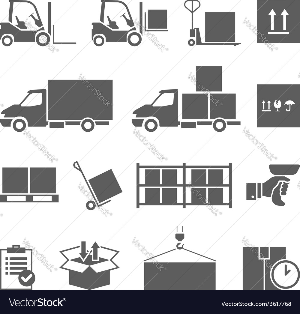 Warehouse transportation and delivery icons set vector | Price: 1 Credit (USD $1)