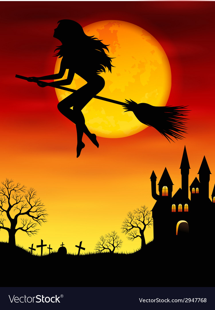 Witch flying on a broomstick vector | Price: 1 Credit (USD $1)
