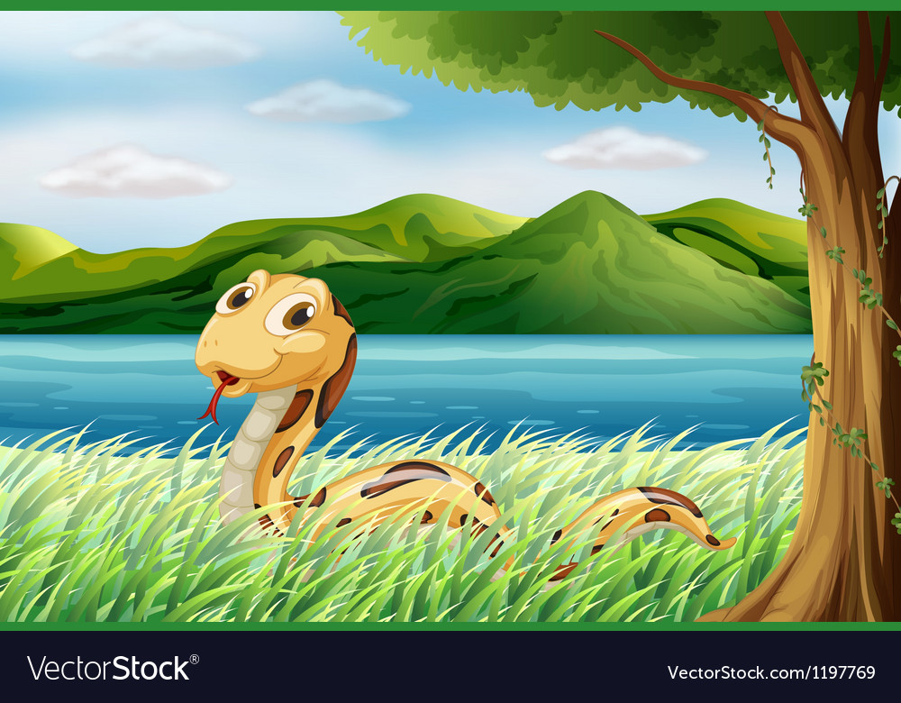 A snake at the grass vector | Price: 1 Credit (USD $1)