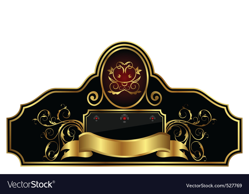 Decorative gold frame label vector | Price: 1 Credit (USD $1)