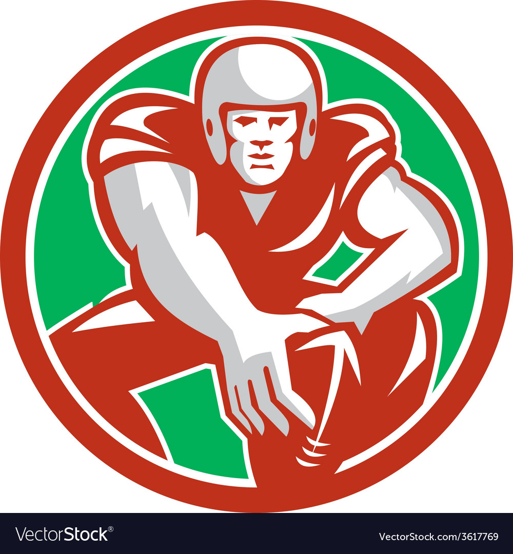 Football player snap circle retro vector | Price: 1 Credit (USD $1)