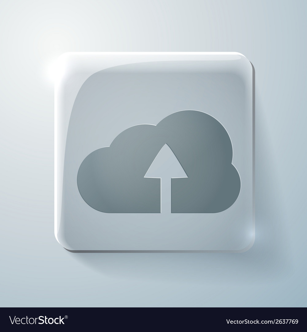 Glass square icon with highlights cloud download vector | Price: 1 Credit (USD $1)