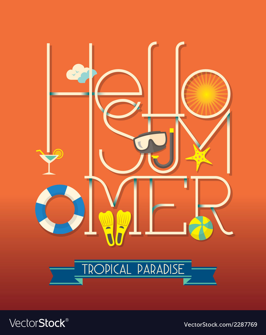 Hello summer typography vector | Price: 1 Credit (USD $1)