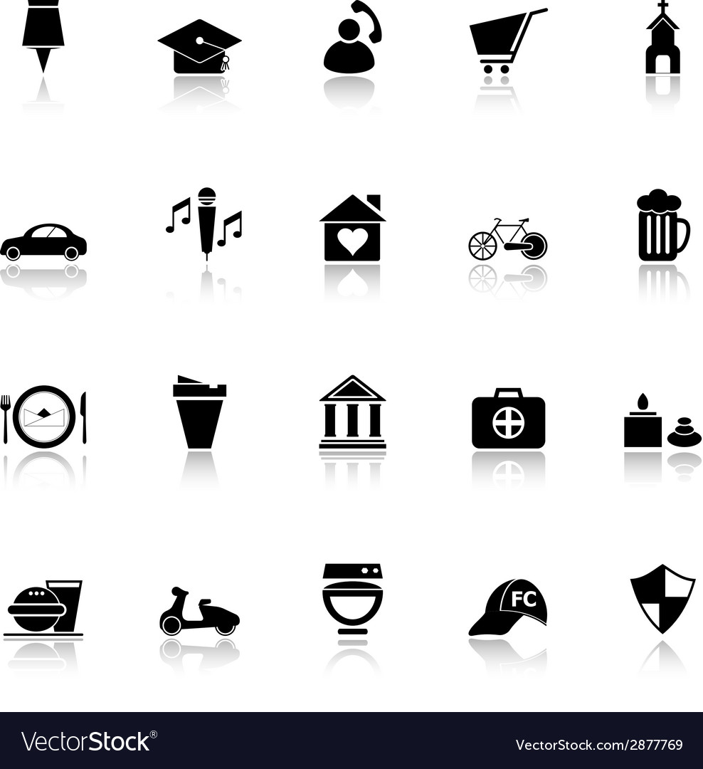 Map sign and symbol icons with reflect on white vector | Price: 1 Credit (USD $1)