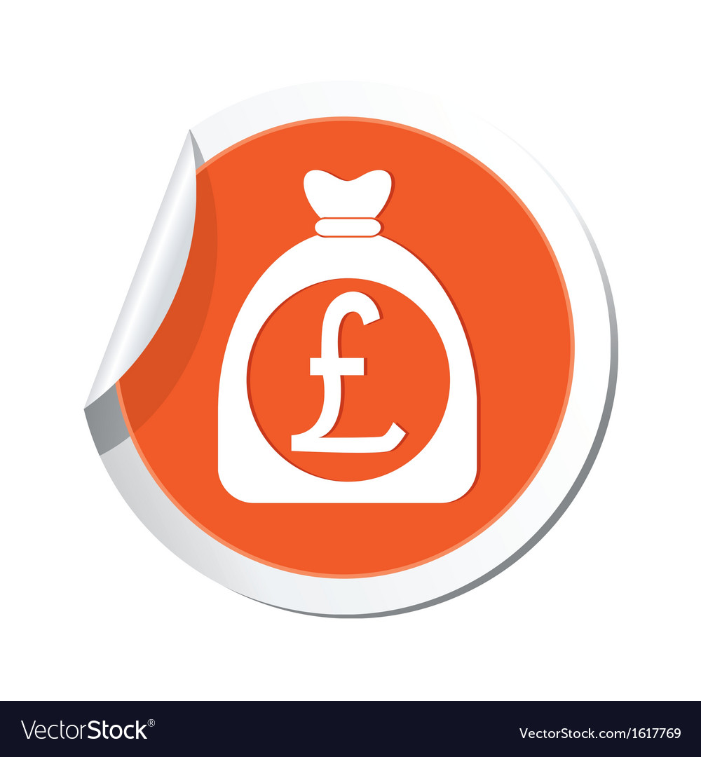 Moneybag pound icon orange label vector | Price: 1 Credit (USD $1)