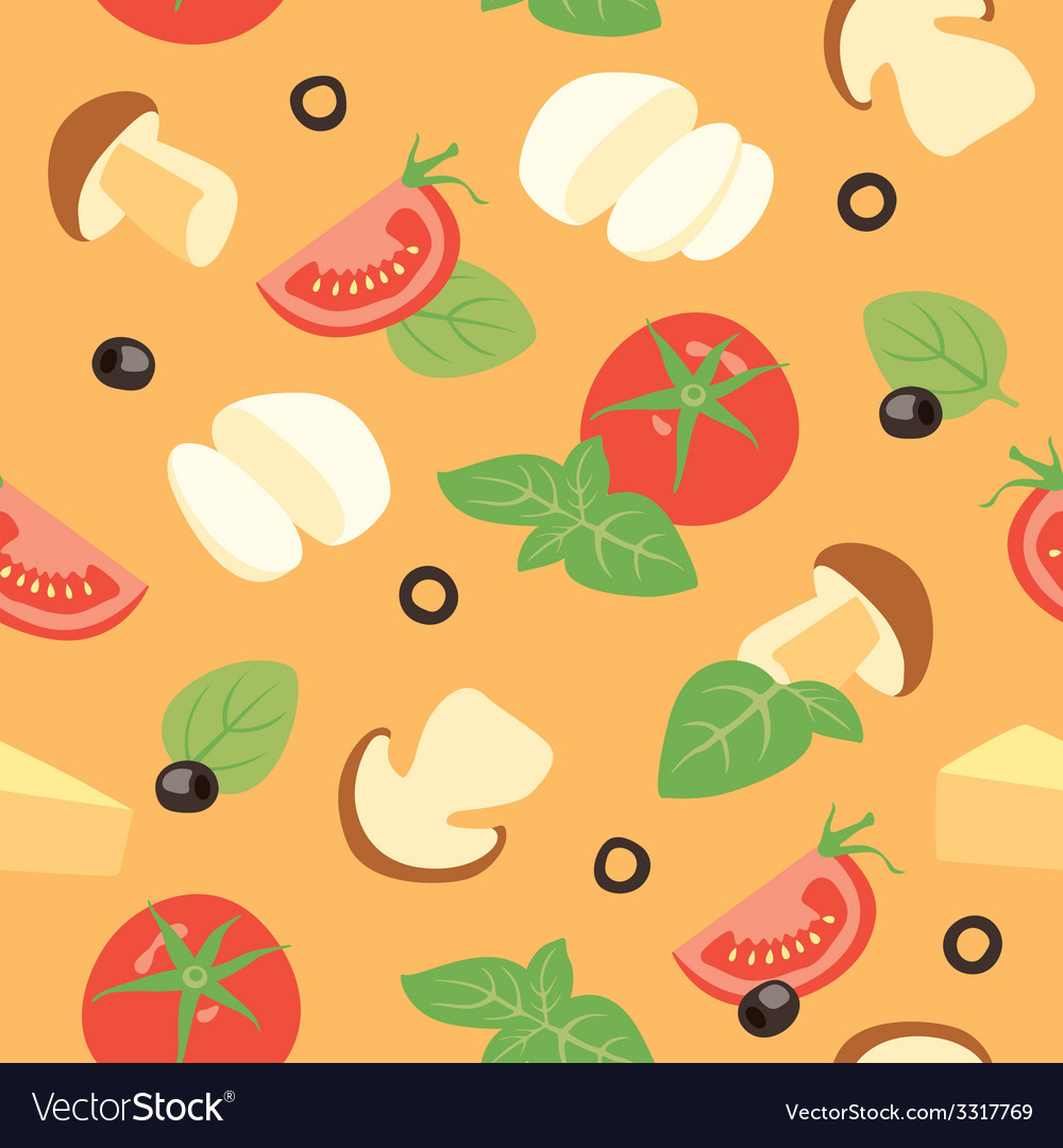 Pizza ai funghi ingredients vector | Price: 1 Credit (USD $1)