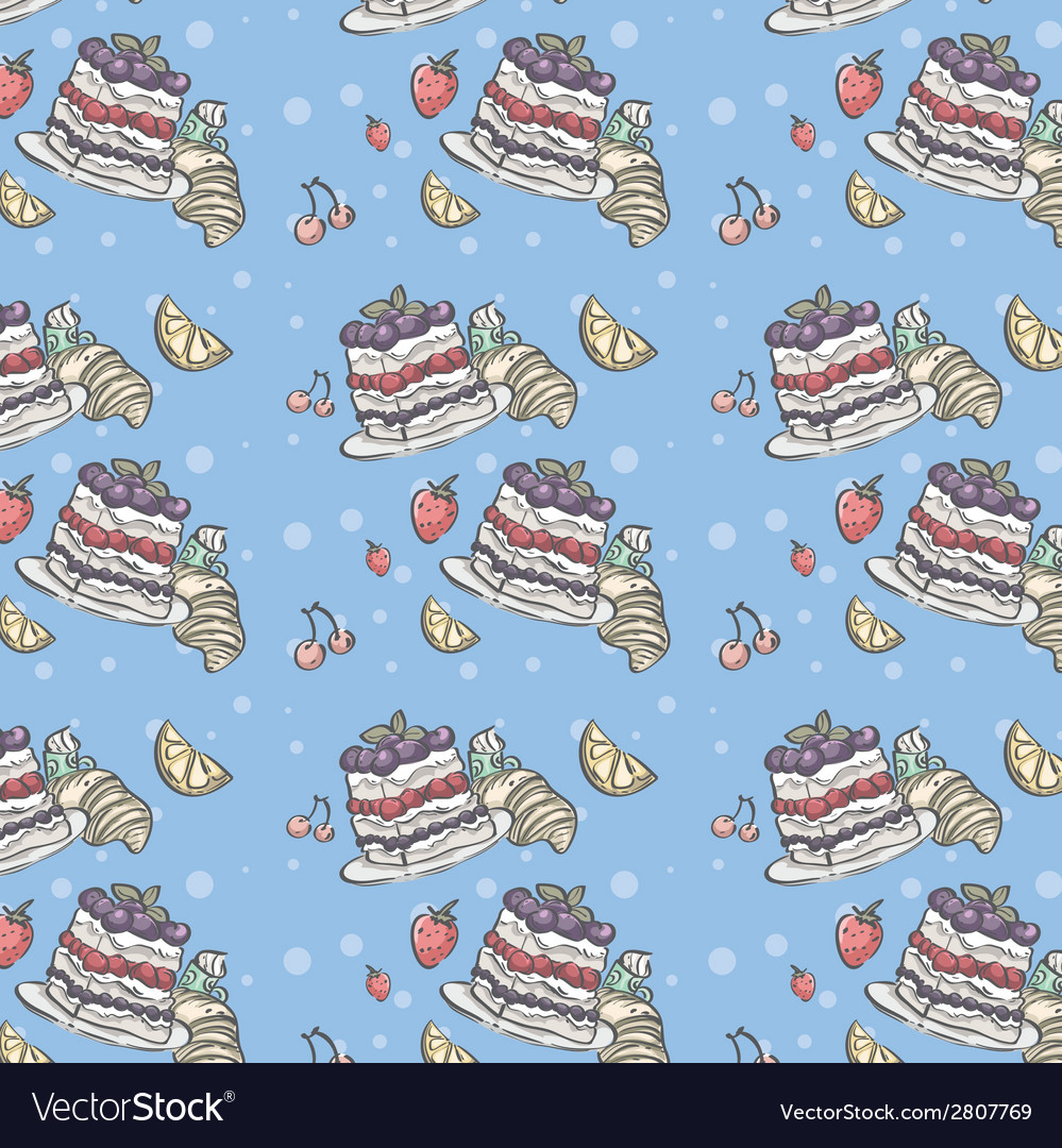 Seamless pattern depicting fruit and blueberry pie vector | Price: 1 Credit (USD $1)