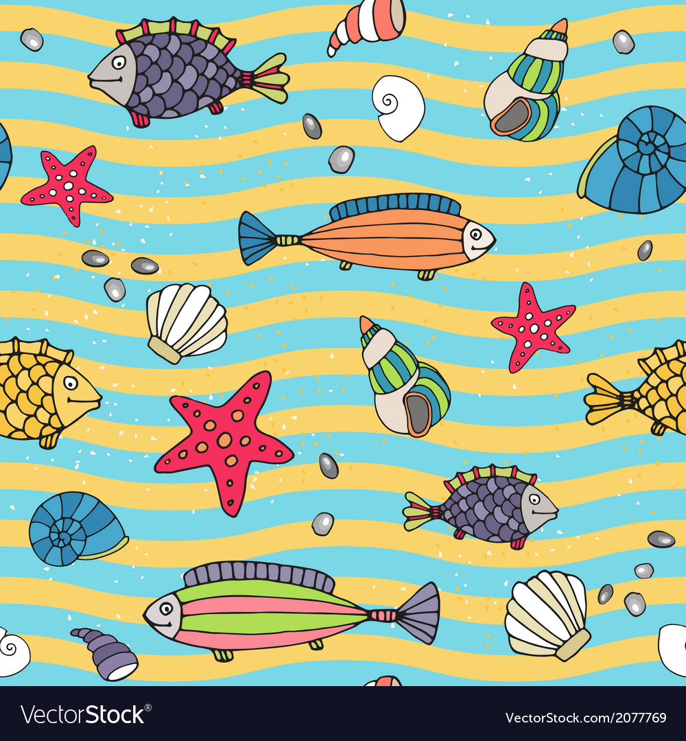 Seamless pattern of sea life on the seashore vector | Price: 1 Credit (USD $1)