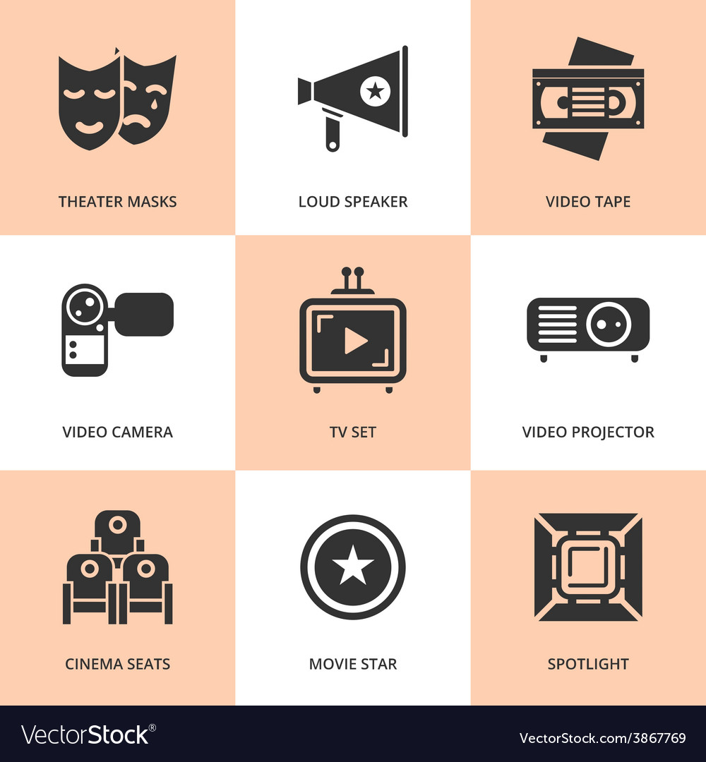 Set of black cinema movie icons vector | Price: 1 Credit (USD $1)