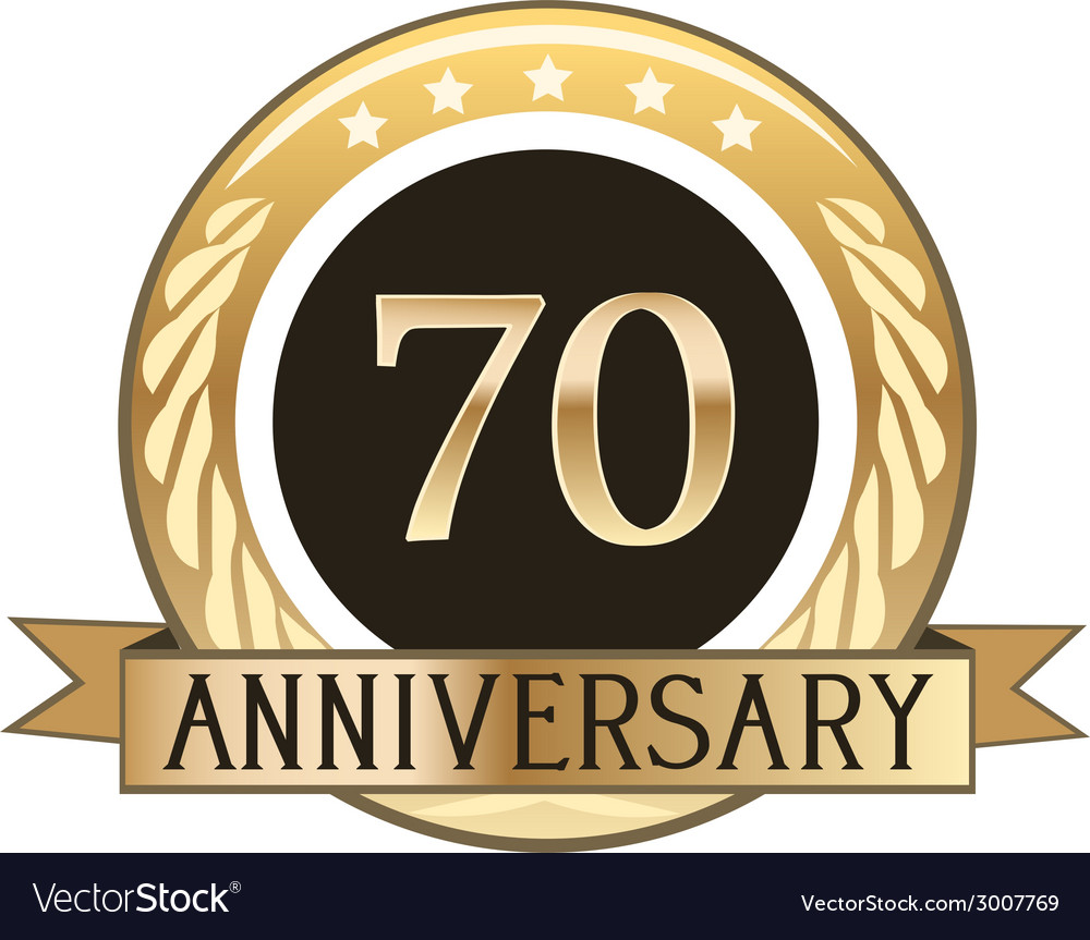 Seventy year anniversary badge vector | Price: 1 Credit (USD $1)