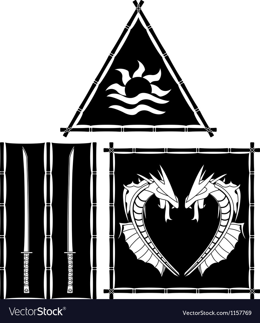 Stencils of fantasy east flags and standards vector   Price: 1 Credit (USD $1)