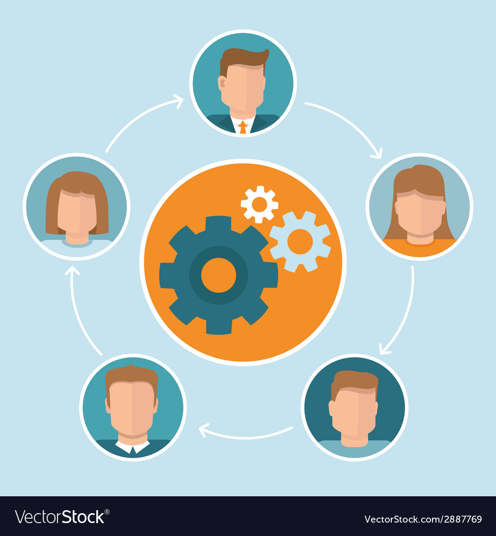Teamwork concept in flat style vector   Price: 1 Credit (USD $1)
