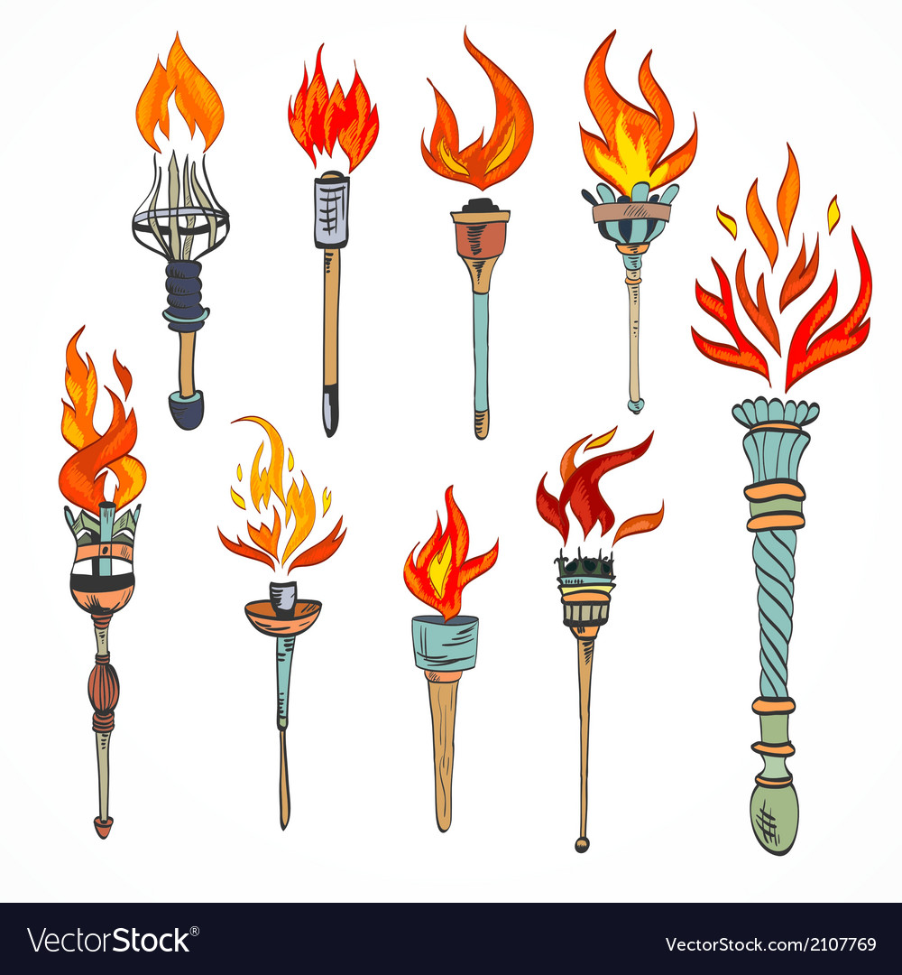 Torch icon sketch vector | Price: 1 Credit (USD $1)