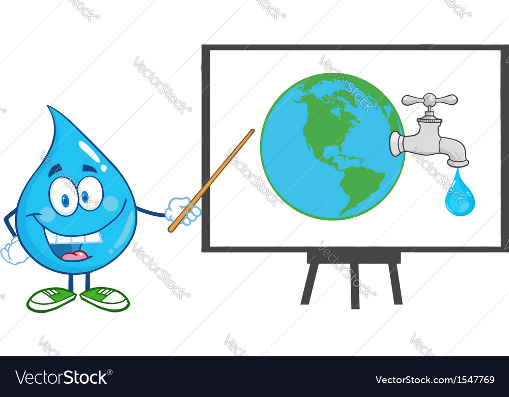 Water droplet cartoon character teaching vector | Price: 1 Credit (USD $1)