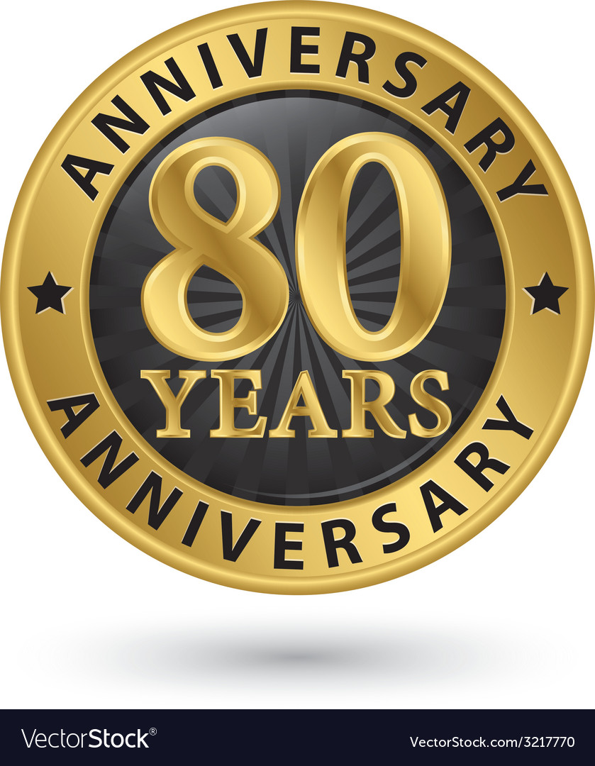 80 years anniversary gold label vector | Price: 1 Credit (USD $1)