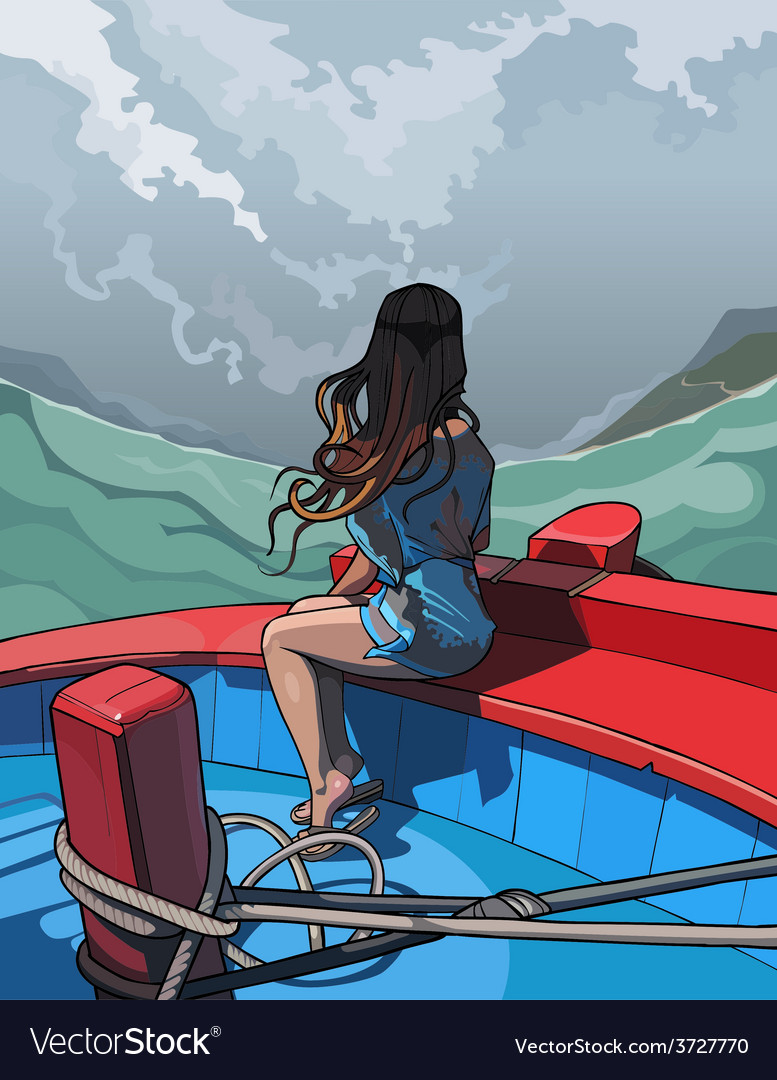 Beautiful girl with long hair sitting in a boat vector