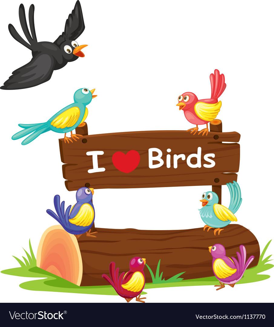 Birds and a notice board vector | Price: 1 Credit (USD $1)