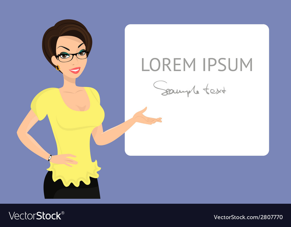 Business woman is demonstrating a banner vector | Price: 1 Credit (USD $1)