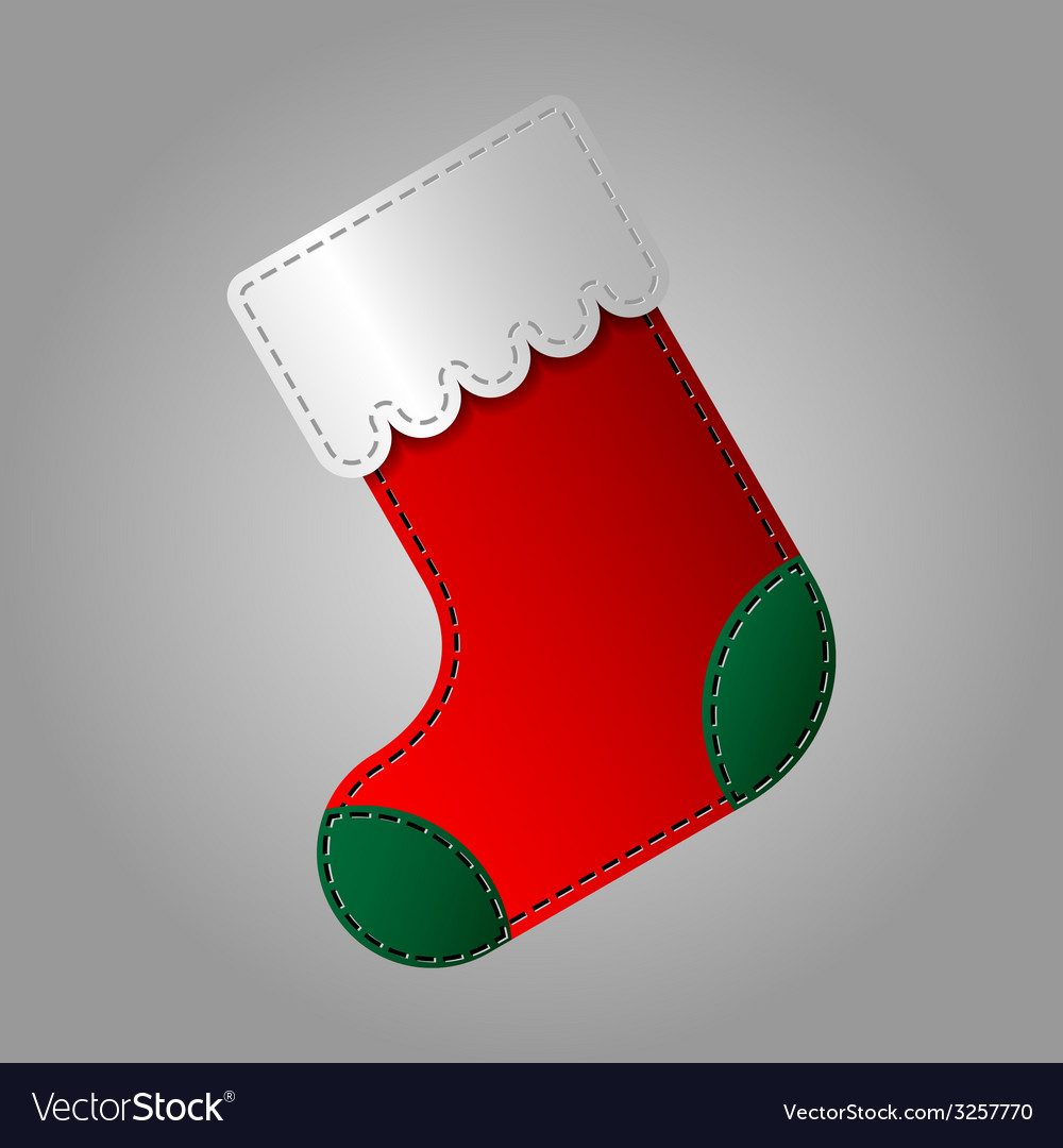 Christmas sock in red and green color vector | Price: 1 Credit (USD $1)