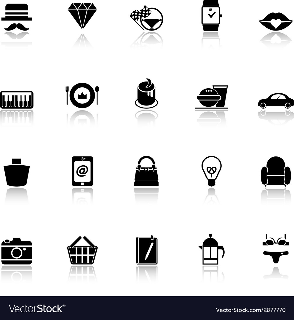 Department store item category icons with reflect vector | Price: 1 Credit (USD $1)