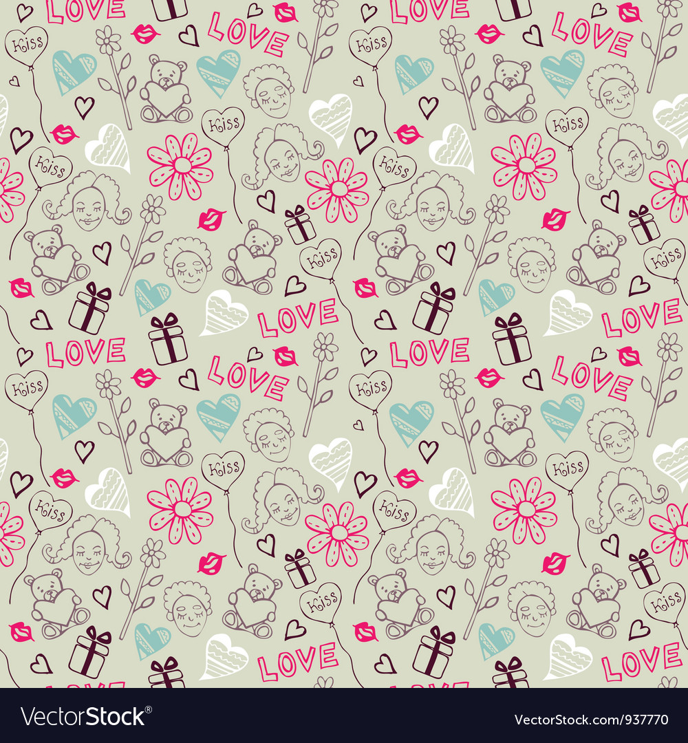 Love doodle pattern vector | Price: 1 Credit (USD $1)